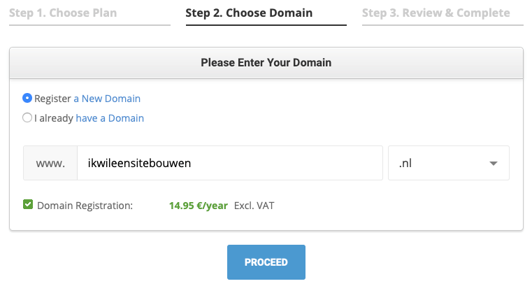 SiteGround register a domain name.