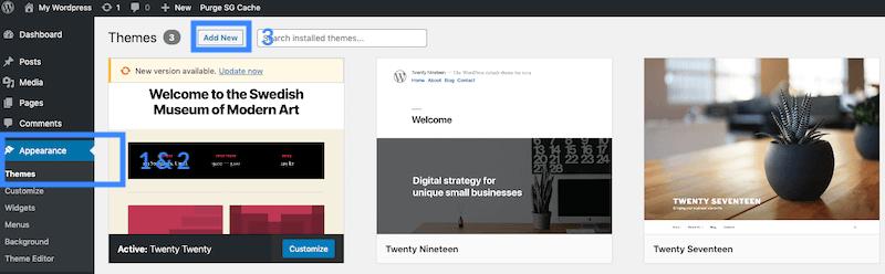 WordPress dashboard appearance.