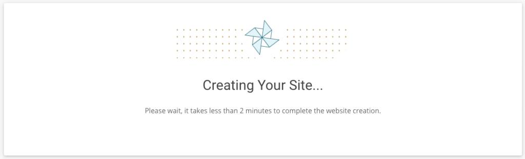 Website maken via SiteGround wachtscherm.
