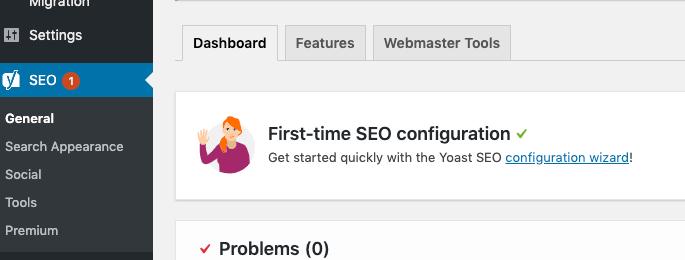Yoast in WordPress dashboard.