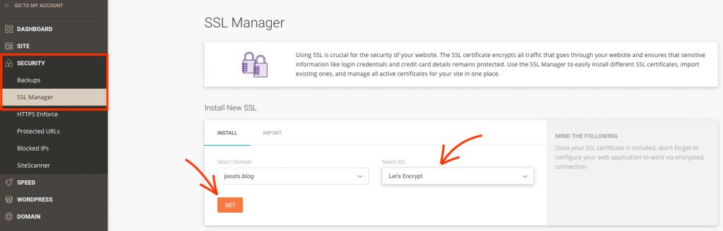 SSL aanzetten via SiteGround.