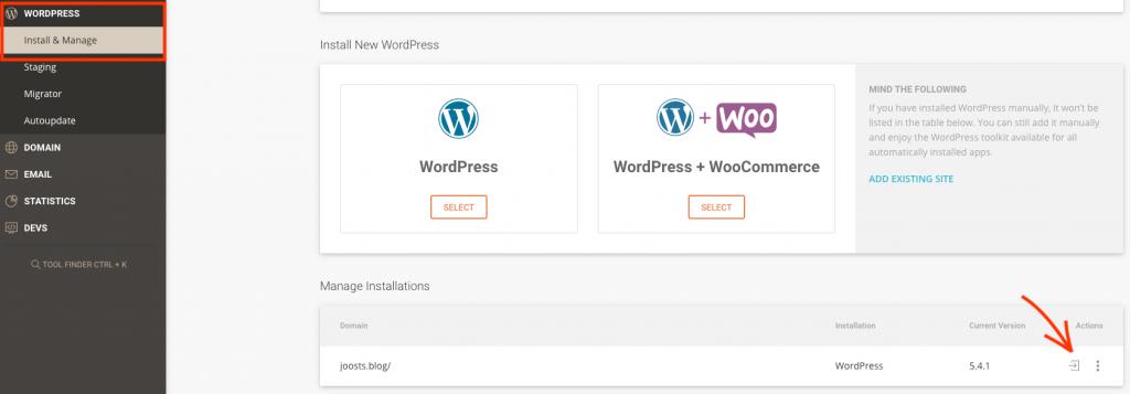 Login WordPress via SiteGround.