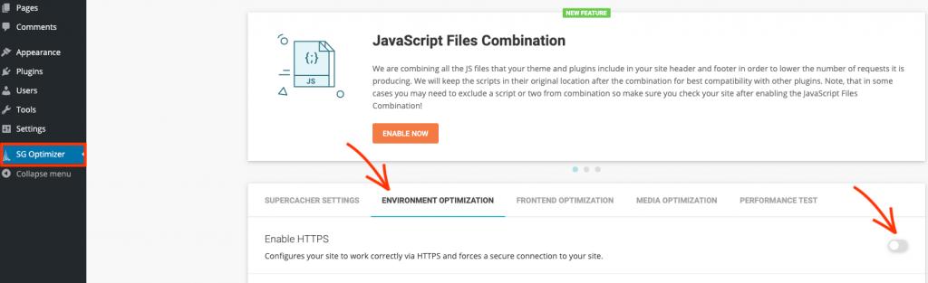 Enable SSL through SG Optimizer in WordPress.