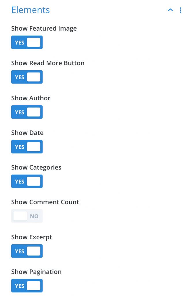 Divi blog settings.