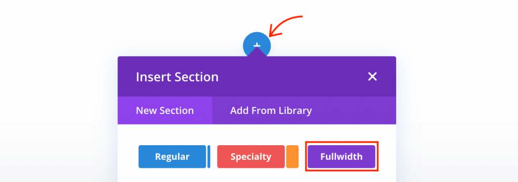 Add new section in Divi.