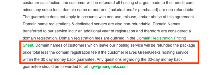 Terms of service on getting money back.