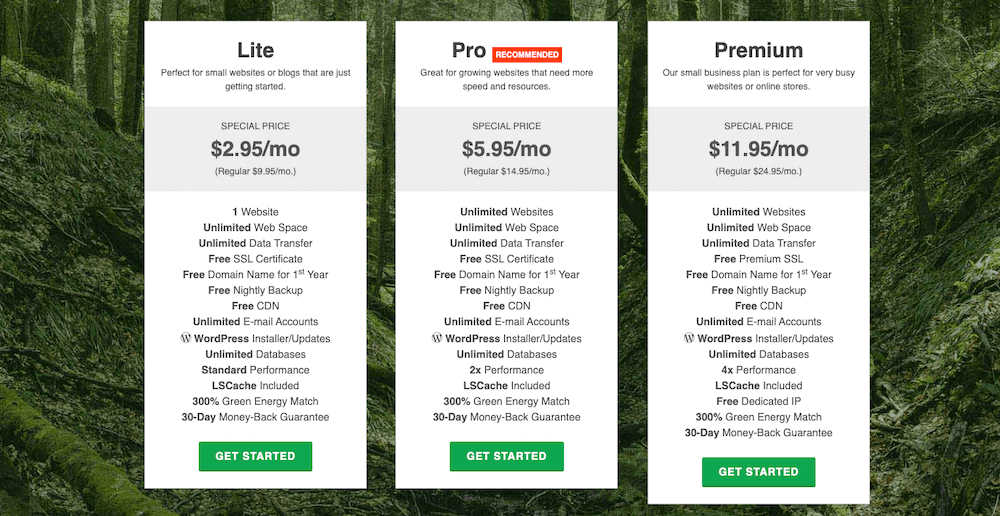 GreenGeeks shared hosting plans.