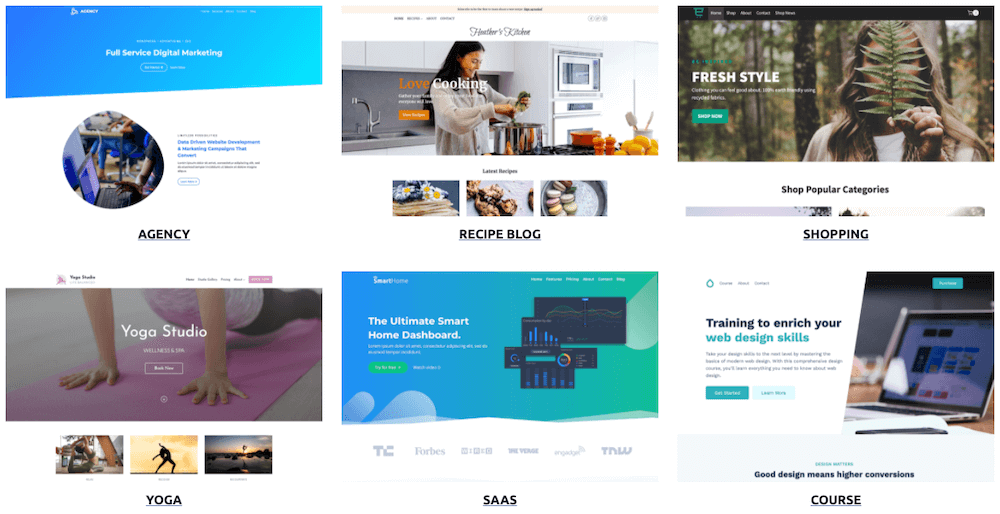 Starter templates Kadence. Great for making a cheap website.